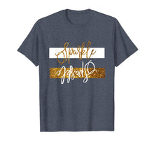 Load image into Gallery viewer, Sparkle tshirt with gold and white upside funny tee