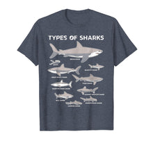 Load image into Gallery viewer, 9 Types Of Sharks T-Shirt Educational Academic Ocean Tee