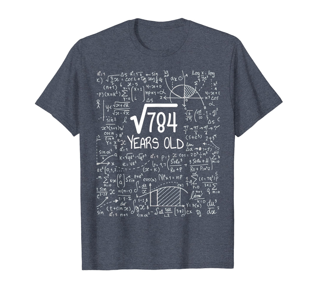28th Birthday Gift T-Shirt, Square Root of 784: 28 Years Old