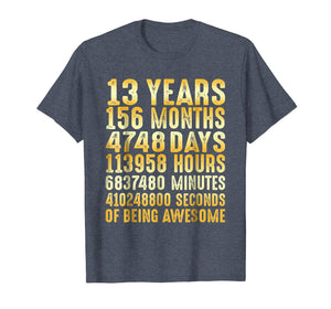13 Years Old 13th Birthday Gold Vintage T Shirt 156 Months