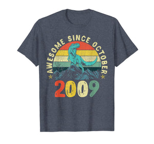 Dinosaur 10th Birthday Boy Gift, Awesome Since October 2009 T-Shirt