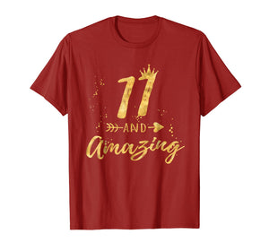 11th Birthday Shirt for Girl, 11 and Amazing Gifts T-Shirt