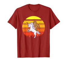 Load image into Gallery viewer, Big Foot Funny Shirt | Vintage Reto Sunset | Riding Unicorn