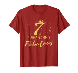 7 and Fabulous 7th Birthday Party Gold Gift Shirt for Girls