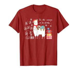 Sloth Christmas Shirt - Fa la la llama Christmas T-Shirt