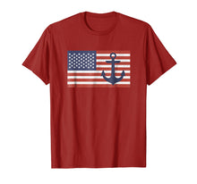 Load image into Gallery viewer, USA American Flag Nautical Blue Anchor Patriotic T-Shirt