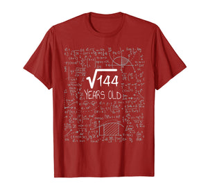12 Years Old Square Root of 144 - 12th Birthday Gift T-Shirt