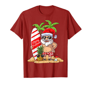 Christmas in July Santa Hawaiian Surfing T Shirt Summer Surf