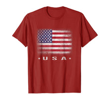 Load image into Gallery viewer, USA Flag T-shirt 4th July Fourth Red White Blue Star Stripes