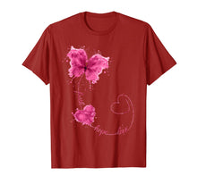 Load image into Gallery viewer, Faith Hope Love Breast Cancer Butterfly Flower Pink Ribbon T-Shirt