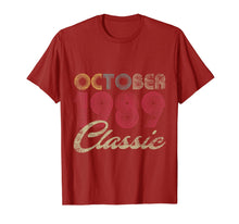 Load image into Gallery viewer, Classic October 1989 Bday Men Women Gifts 30th Birthday T-Shirt