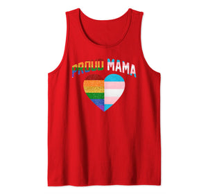proud Mama flag heart Rainbow LGBT Transgender Pride Month Tank Top