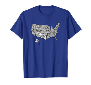 US Map T-Shirt 50 United States USA Tee