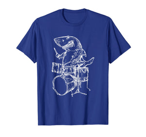 SEEMBO Shark Playing Drums T-Shirt Ocean Drummer Beach Gift