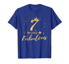 Load image into Gallery viewer, 7 and Fabulous 7th Birthday Party Gold Gift Shirt for Girls