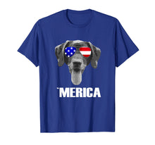 Load image into Gallery viewer, Merica Chocolate Lab Dog T-shirt with USA flag sunglasses