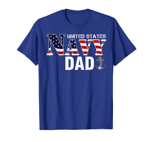 United States Flag American Navy Dad T-Shirt Veteran Gift