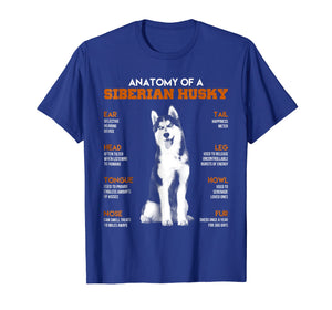 Anatomy Of A Siberian Husky Dogs T Shirt Funny Gift