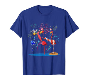 Flamingo American Flag Fireworks Shirt