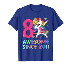 8 Years Old 8th Birthday Unicorn Dabbing Shirt Girl Party