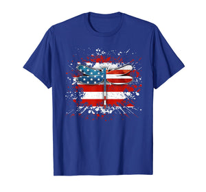 Retro Vintage Patriotic US Flag Dragonfly Tshirt Gifts
