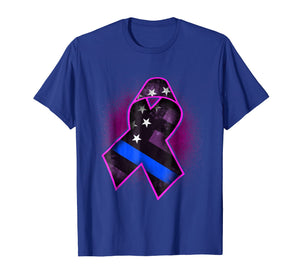 Thin Blue Line Breast Cancer Awareness T-Shirt