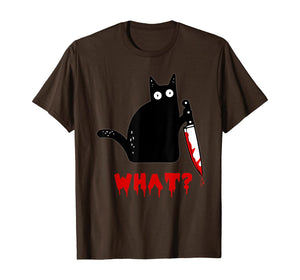 Cat What? Funny Murderous Black Cat With Knife Halloween T-Shirt