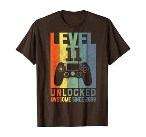 Level 11 Unlocked Awesome Since 2009 11 Birthday Gift T-Shirt