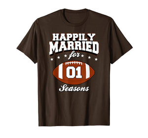 1 Years Wedding Anniversary T-Shirt Football Couple Gift