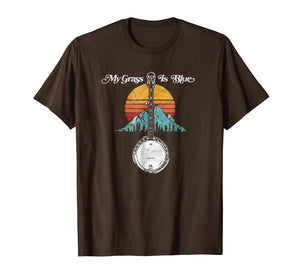 My Grass is Blue Retro Rocky Mountain Banjo Bluegrass Shirt