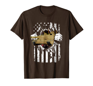 M1 Abrams Tank and American Flag Veterans T-Shirt