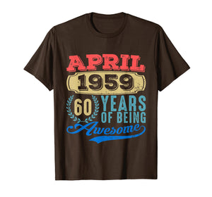 April 1959 Tshirt Vintage 60th Birthday Gift Ideas Men Women