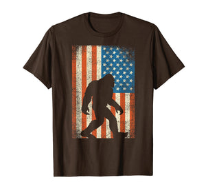 Bigfoot Sasquatch I Believe Tshirt Patriot American Flag USA