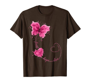 Faith Hope Love Breast Cancer Butterfly Flower Pink Ribbon T-Shirt