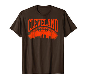 Cleveland Ohio Vintage CLE Skyline Retro Brown Game Day Gift T-Shirt