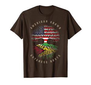 American Grown Guyanese Roots Guyana Flag T-Shirt