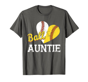 Baseball Softball Ball Heart Auntie T-Shirt Mother's Day Gif