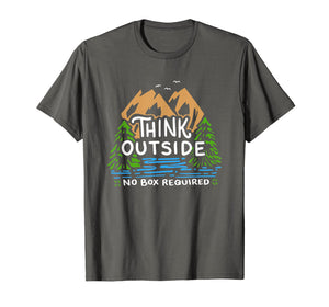 Think Outside No Box Required Camping T-Shirt Camp Gift