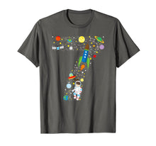 Load image into Gallery viewer, Outer Space Seventh Birthday GIRL Astronaut seven T-shirt