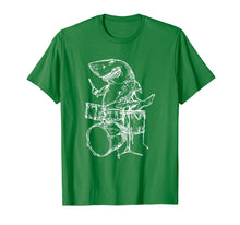 Load image into Gallery viewer, SEEMBO Shark Playing Drums T-Shirt Ocean Drummer Beach Gift