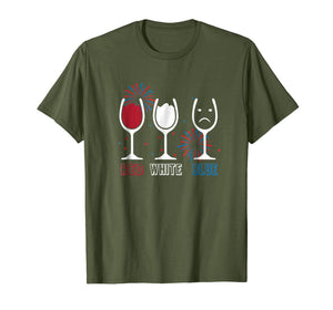Womens Red White and Blue Funny Wine Glass Shirt 4th of July