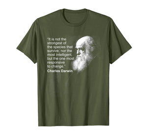 Charles Darwin Portrait quote Evolution Atheist t shirt