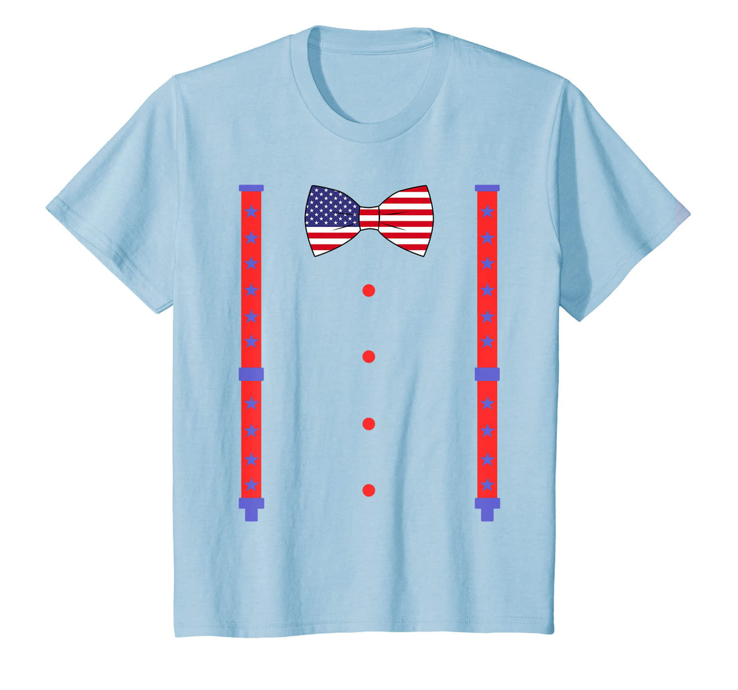 4th Of July Bow Tie & Suspenders Americann Flag T shirt