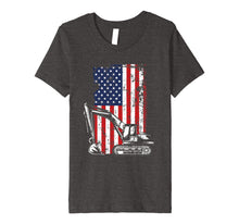 Load image into Gallery viewer, 4th of July American Flag Construction Backhoe Excavator Premium T-Shirt
