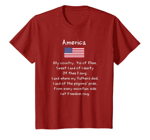 America My Country Song Patriotic USA 4th Of July T-Shirt