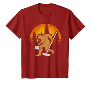 Curling Bigfoot T-Shirt, Funny Cute Winter Sport Gift Idea