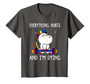 Everything Hurts & I'm Dying Funny Dinasours Workout T Shirt