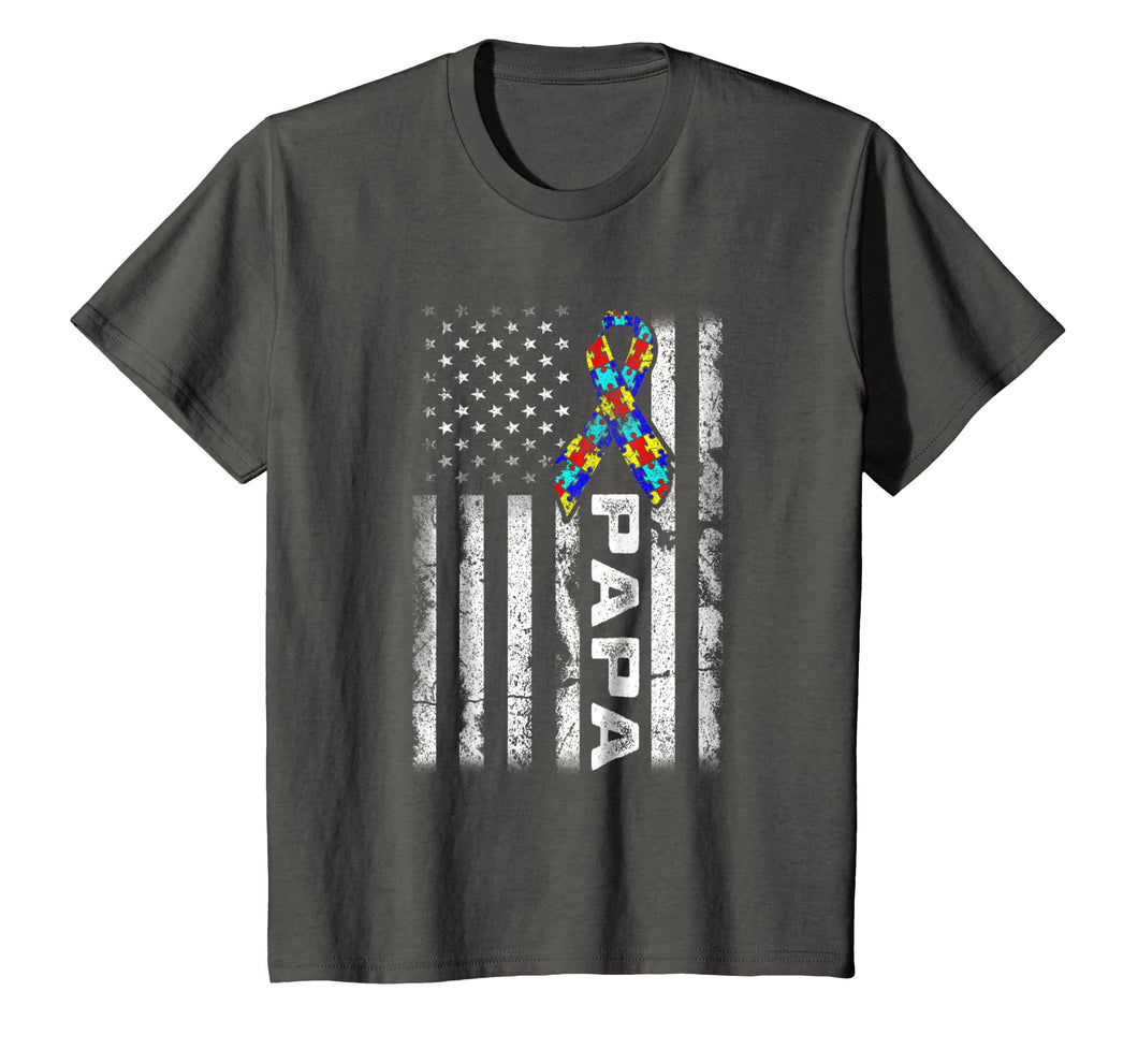 Papa Autism Awareness TShirt American Flag Gifts For Family