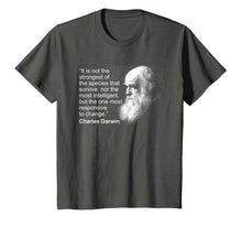 Load image into Gallery viewer, Charles Darwin Portrait quote Evolution Atheist t shirt