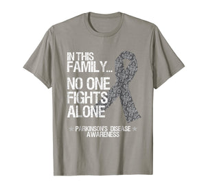 Parkinsons Awareness Shirt No One Fights Alone Silver Ribbon